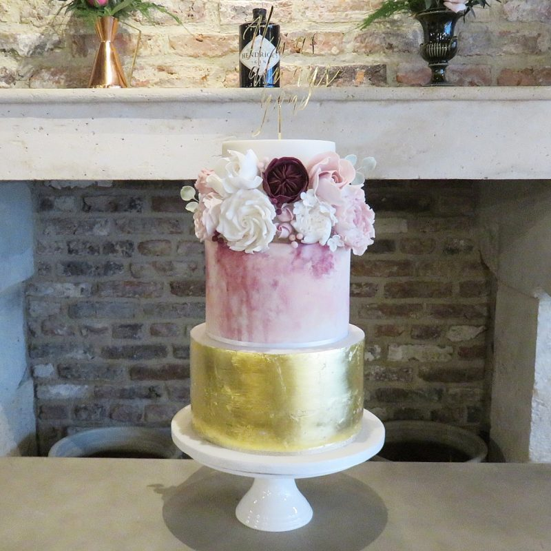 Abi and David's Gold Leaf, Watercolour and Sugar Flowers Wedding Cake
